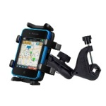 Cell phone cradle attached to a clamp mount is ideal for microphone stands