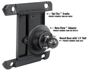 Details of how the RAM Roto-View attaches to your current RAM Mount.